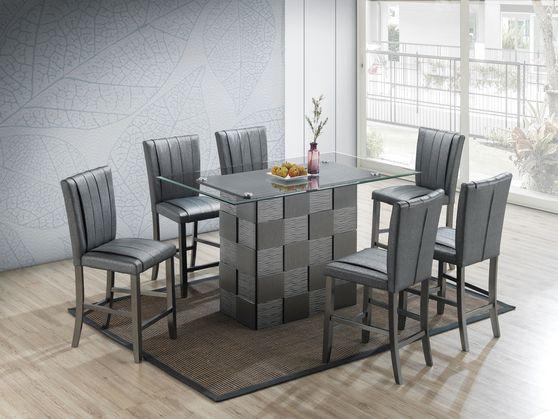 Checker base glass top gray table