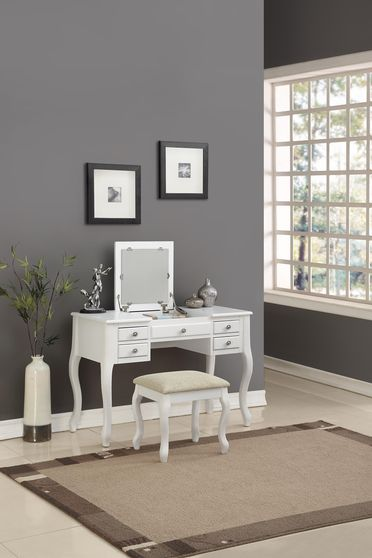 Modern stylish vanity set w/ stool in white