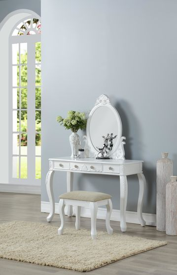 White vanity w/ stool set in classical style