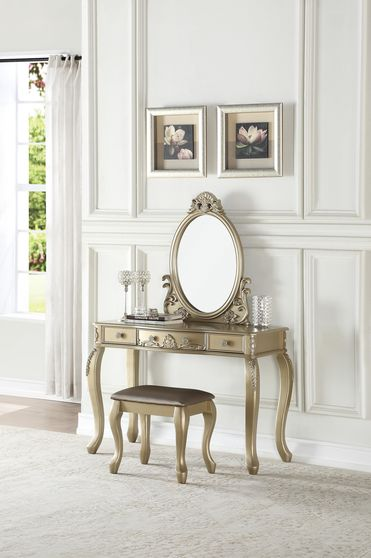 Champagne vanity w/ stool set in classical style