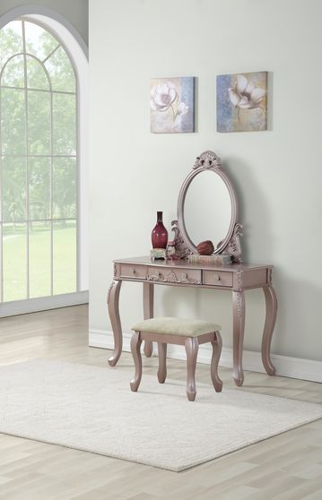 Rose gold vanity w/ stool set in classical style