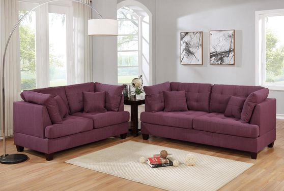 Purple polyfiber fabric 2pcs living room set