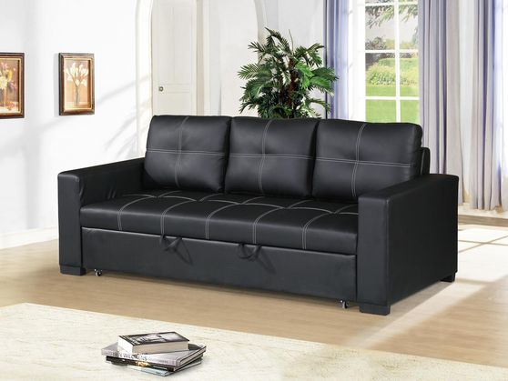 Black faux leather convertible sofa / sofa bed