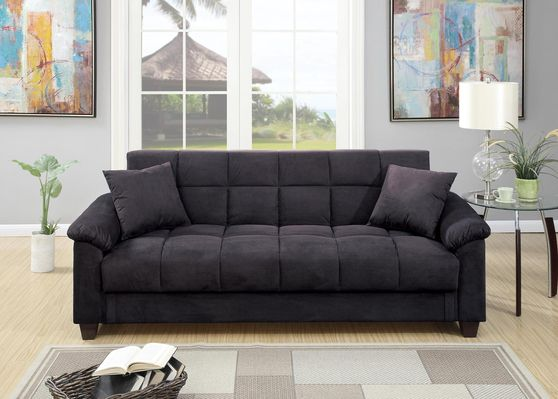 Ebony dark gray microfiber adjustable sofa bed