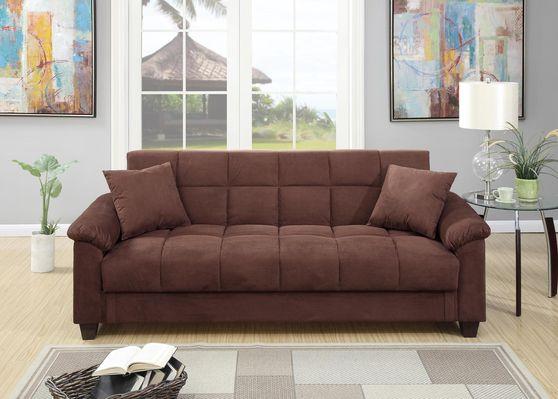 Chocolate microfiber adjustable sofa bed