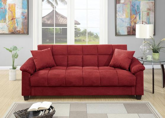 Red microfiber adjustable sofa bed
