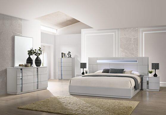 Minimal design gray lacquer 5pcs queen bed set