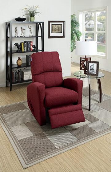 Swivel recliner chair in carmine polyfiber