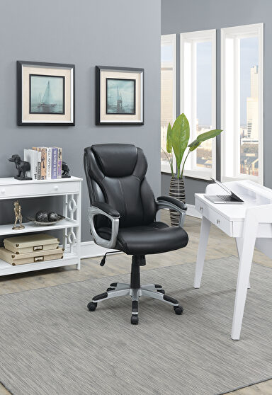 Black bouned leather office chair