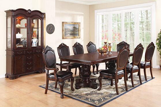 Dark brown and espresso wood/ veneers dining table w/ leaf