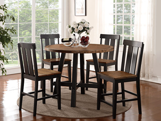 Chocolate brown woods and pine round counter height table