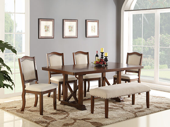 Casual family size dining table in cherry finish