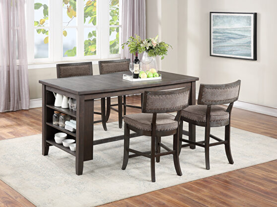 Medium density fiberboard counter height table in gray finish