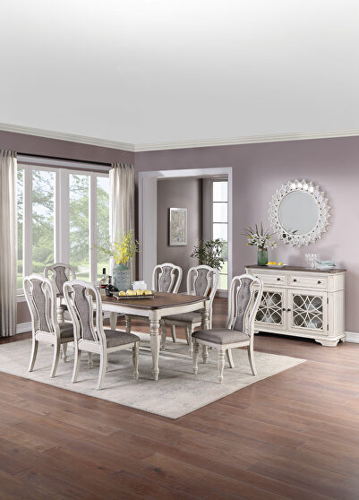 White base and brown top rectangular dining table