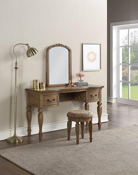 Antique oak vanity + stool set