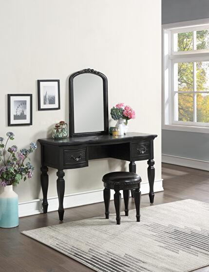 Black vanity + stool set