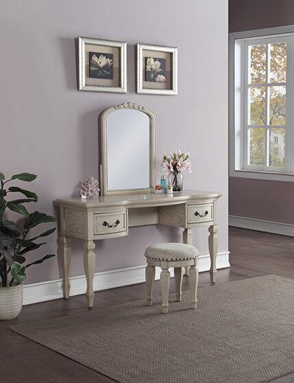 Antique white vanity + stool set