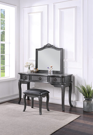 Gray vanity + stool set