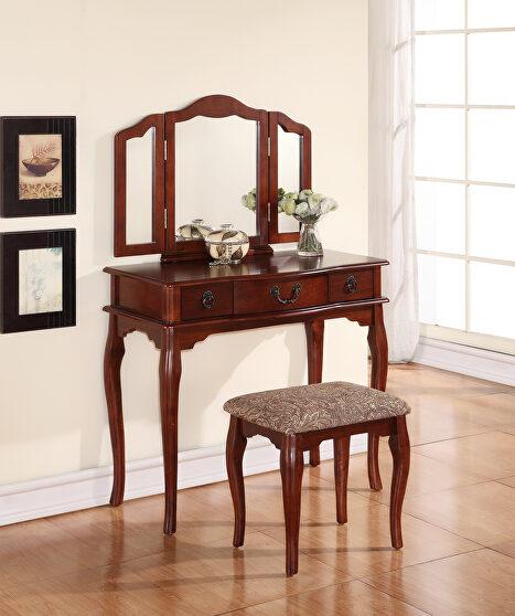 Cherry vanity set with stool