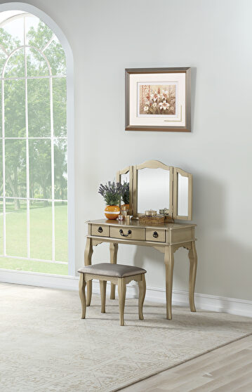 Champagne vanity set with stool