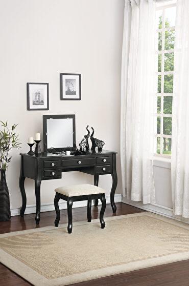 Black vanity with stool