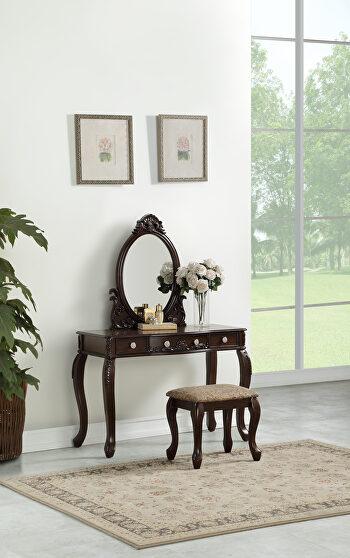 Espresso vanity w/ stool set in classical style