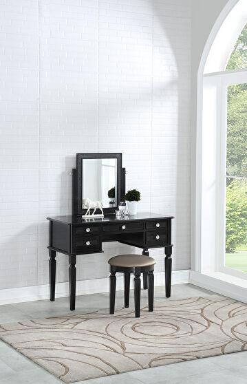 Galaxy black vanity w/ stool set