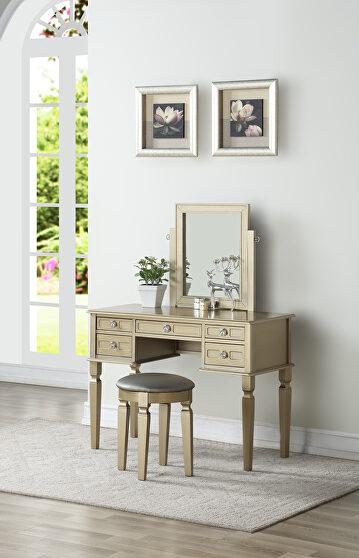 Champagne vanity w/ stool set