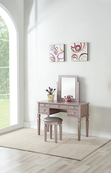 Rose gold vanity w/ stool set