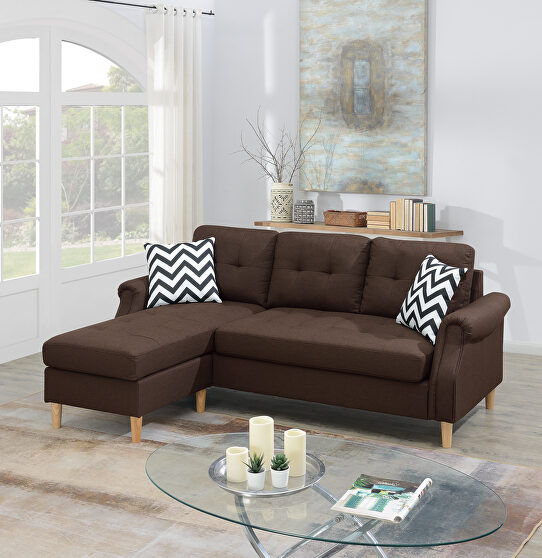 Dark coffee polyfiber 2pc sectional sofa