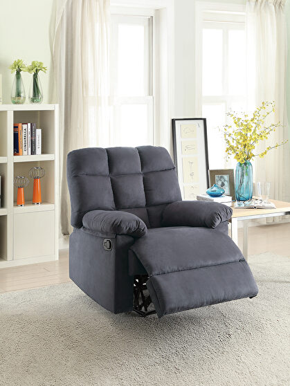 Recliner chair in ebony plush microfiber