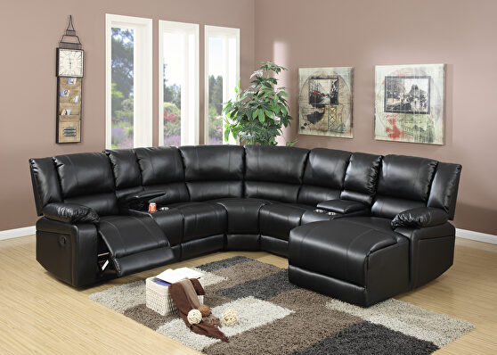 Black bonded leather 5-pcs reclining sectional sofa