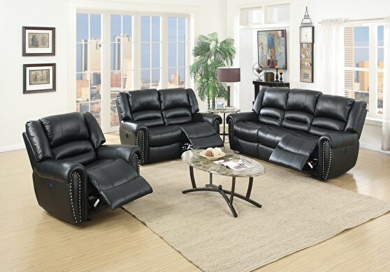 Handle motion recliner sofa in black bonded leather