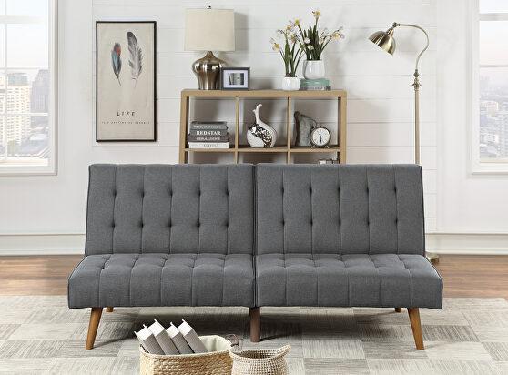 Blue gray polyfiber adjustable sofa bed