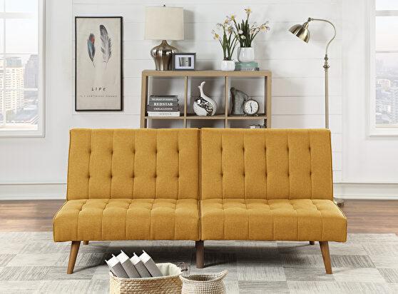 Mustard polyfiber adjustable sofa bed