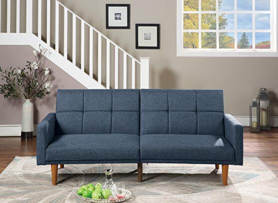Navy polyfiber adjustable sofa bed