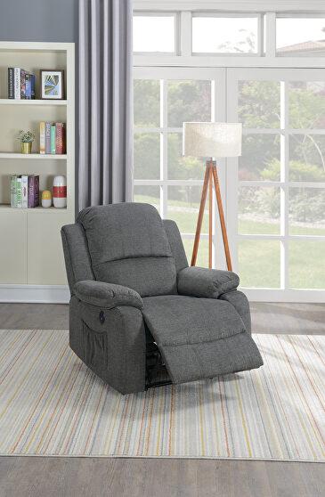 Power recliner chair in slate velvet