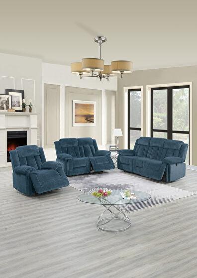 Power motion recliner sofa in dark blue chenille