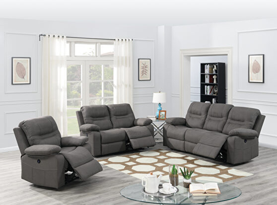 Power motion recliner sofa in slate blue breathable leatherette