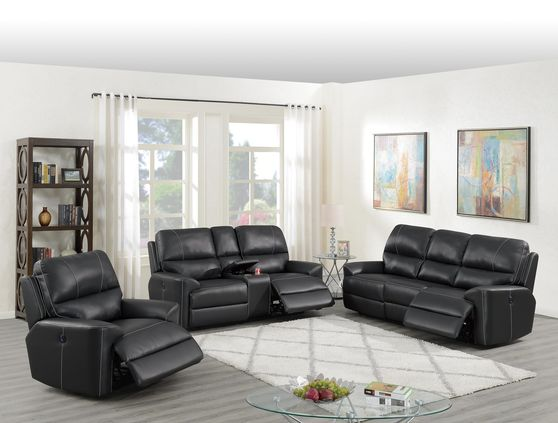 Black leatherette power recliner sofa