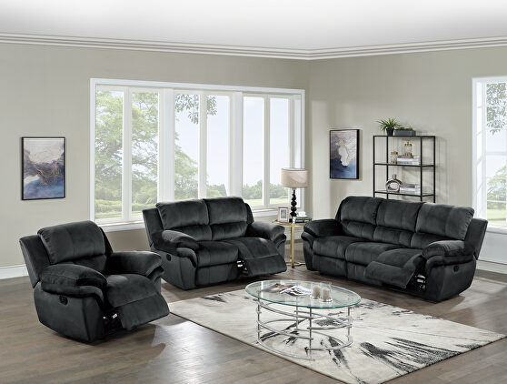 Power motion recliner sofa in black padded suede