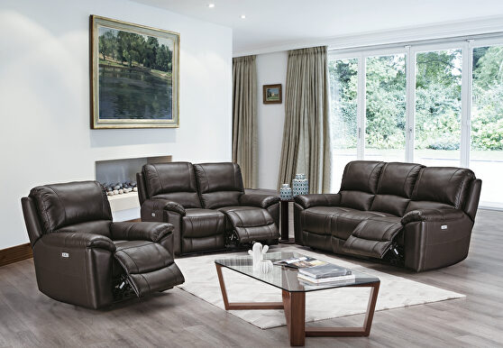 Power motion recliner sofa in espresso top grain leather match
