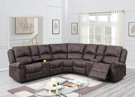 Dark brown leather-like fabric power recliner sectional