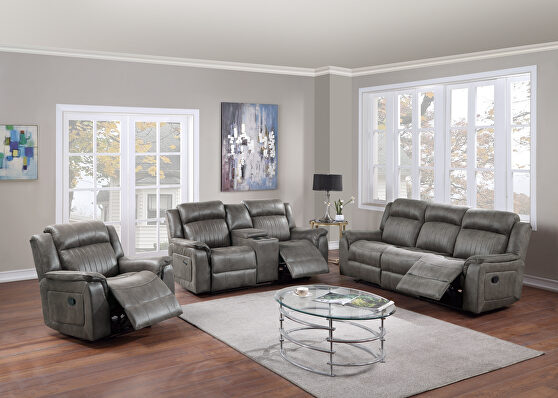 Handle motion recliner sofa in slate blue breathable leatherette