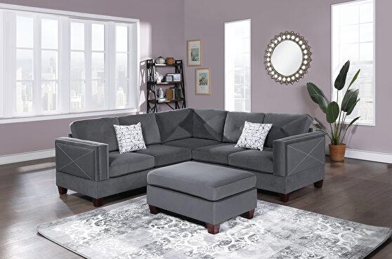 Gray velvet 3-pcs sectional set