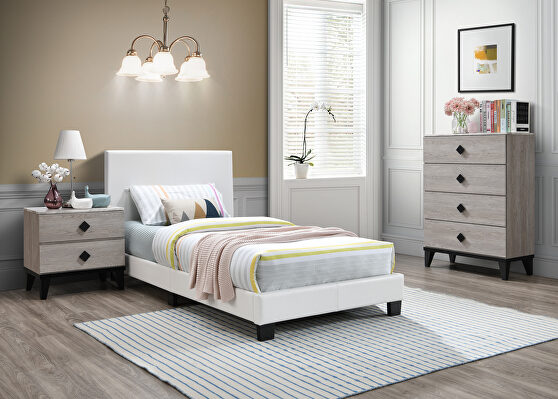 White faux leather upholstery twin bed