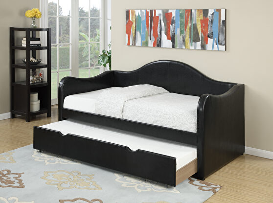 Black faux leather day bed w/trundle