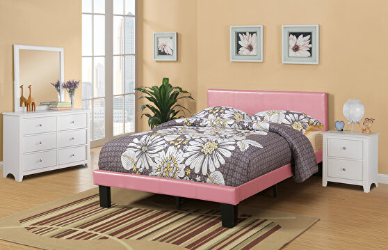 Pink faux leather twin size bed