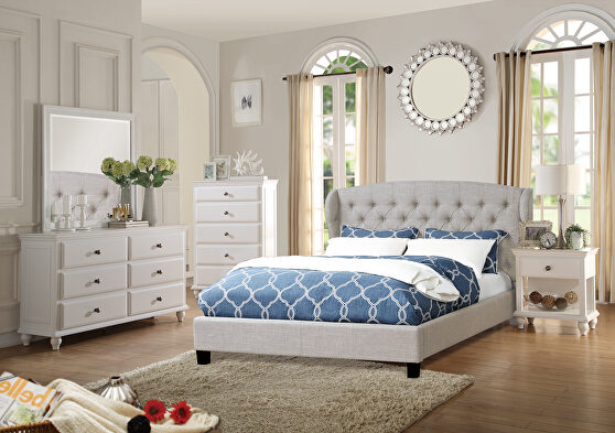 Beige polyfiber fabric upholstery full size bed