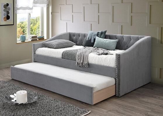 Gray velvet day bed w/trundle